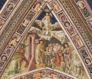 锡耶纳洗礼池-天堂和地狱 图库摄影