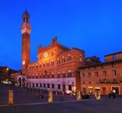 锡耶纳,中央Italya€Tss的Piazza del园地锡耶纳,意大利一个城市 库存图片