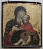 锡耶纳,大约1285-1290 维尔京和孩子 免版税图库摄影