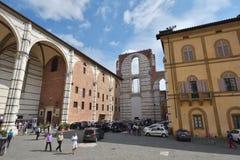 锡耶纳,意大利- 2016年10月01日:锡耶纳大教堂的墙壁, r 免版税库存图片