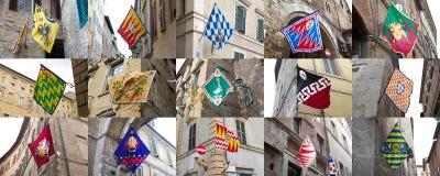 锡耶纳,托斯卡纳,意大利Contrade  免版税库存图片