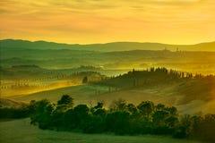 锡耶纳,日落的绵延山 与柏tre的农村风景 库存图片