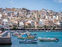 锡蒂亚港口在克利特,希腊 库存照片