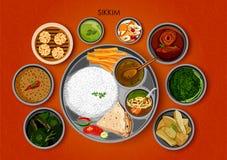 锡金印度的传统烹调和食物膳食thali 库存例证