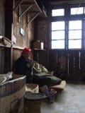 锡金西藏人地方妇女在村庄,甘托克Ci工作 库存图片