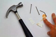 锤子、钉子和受伤的手指 库存图片