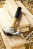 锤子和钉子 免版税库存照片