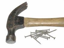 锤子和钉子 免版税库存图片