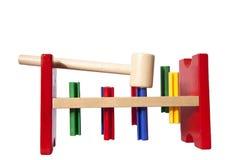 锤子开玩笑木的玩具 库存照片