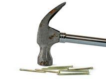 锤子金属钉子 免版税图库摄影