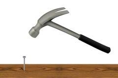 锤子钉子 库存例证