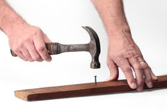 锤子钉子 免版税库存照片