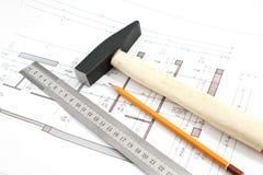 锤子铅笔项目统治者 免版税库存图片