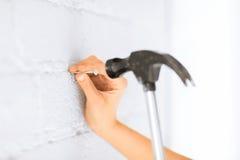 锤击在墙壁的建筑师钉子 免版税库存照片