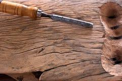 锤击在木头的凿子 库存图片