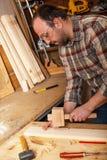 锤击木定缝销钉的木匠 免版税库存照片