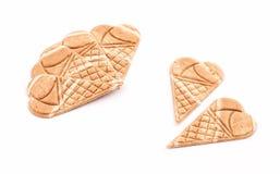 锥体奶油色装饰冰薄酥饼 免版税库存照片