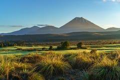 锥体火山,日出,瑙鲁霍伊火山,新西兰31 库存图片