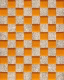 锦砖-橙色玻璃和灰色石头的无缝的样式 免版税库存图片