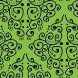 锦缎启发了在绿色背景无缝的样式的手拉的线艺术 皇族释放例证