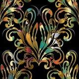 锦缎巴洛克式的无缝的样式 传染媒介五颜六色的花卉backgrou 库存图片