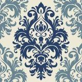 锦缎无缝的样式背景 古典豪华古板的锦缎装饰品,皇家维多利亚女王时代的无缝的纹理 库存例证
