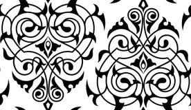 锦缎无缝的白色和黑样式 免版税库存图片