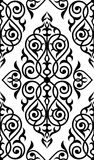 锦缎无缝的白色和黑装饰品 免版税库存图片