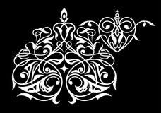 锦缎无缝的白色和黑装饰品 免版税库存照片