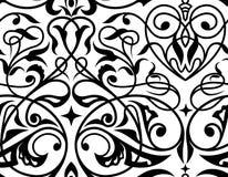 锦缎无缝的白色和黑装饰品 库存图片