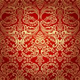 锦缎葡萄酒花卉无缝的样式背景。 免版税库存照片