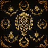 锦缎装饰品被设置的向量 免版税图库摄影