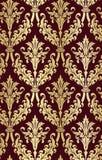 锦缎设计豪华传染媒介无缝的样式用花装饰的金子 库存例证