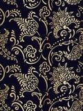 锦缎设计豪华传染媒介无缝的样式用花装饰的金子 皇族释放例证