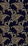锦缎设计豪华无缝的样式用花装饰的金子 库存例证