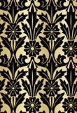 锦缎设计豪华无缝的样式用花装饰的金子 向量例证