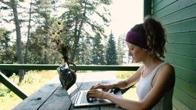 键入在一台膝上型计算机的女商人旅游自由职业者在夏天户外在娱乐中心 股票录像