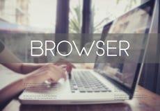 键入在有浏览器主页的一个膝上型计算机键盘的企业手 免版税库存图片