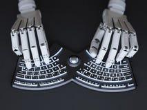 键入在概念性自有启发性键盘的机器人 免版税库存照片
