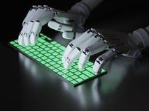 键入在键盘的机器人 库存照片