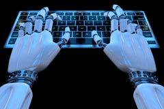 键入在键盘的ai机器人的手 使用键盘计算机的机器人胳膊靠机械装置维持生命的人手 E 库存例证