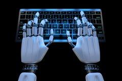 键入在键盘的ai机器人的手 使用键盘计算机的机器人靠机械装置维持生命的人手 E r 库存例证