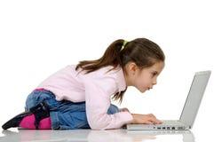 键入的计算机女孩 库存照片