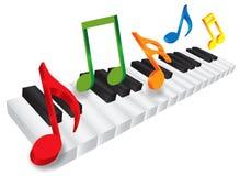 琴键和3D音乐笔记例证 免版税库存图片