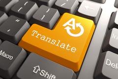 键盘与翻译按钮。 库存图片
