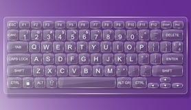 键盘个人计算机与阴影的橡皮防水布玻璃 库存照片