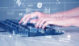 键盘按钮用手按与高科技象 免版税库存照片