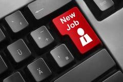 键盘红色按钮新的工作雇员 免版税库存照片