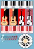 键盘,吉他,小提琴,高音谱号,笔记- symb 图库摄影