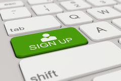 键盘-报名参加-绿色 库存照片